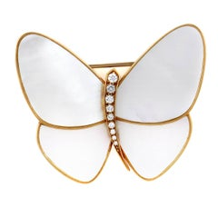 18 Karat Yellow Gold Diamond and Mother-of-Pearl Butterfly Brooch