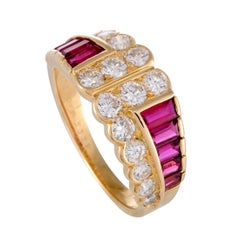 18 Karat Yellow Gold Diamond and Invisible Set Ruby Band Ring
