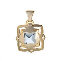 Bvlgari Piramide 18 Karat White and Yellow Gold Topaz Enhancer Pendant