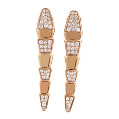 Serpenti Women's 18 Karat Rose Gold Partial Diamond Pave Drop Earrings