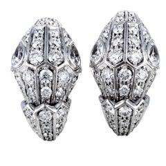 Bvlgari Serpenti 18 Karat White Gold Full Diamond Pave Huggie Earrings