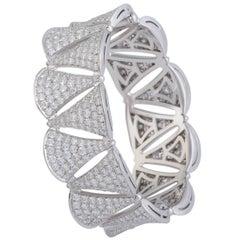 Bvlgari Diva's Dream 18 Karat White Gold Full Diamond Pave Bangle Bracelet