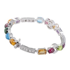Bvlgari Allegra 18 Karat White Gold Diamond and Multi-Colored Gemstone Bracelet