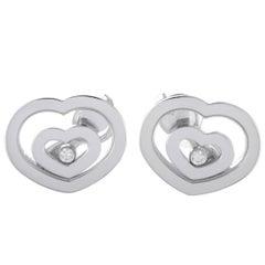 Chopard Happy Spirit 18 Karat White Gold Floating Diamond Heart Earrings