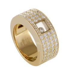 Chopard Happy Diamonds Women's 18 Karat Yellow Gold Diamond Pave Band Ring