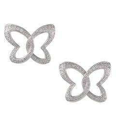 Women's 18 Karat White Gold Diamond Butterfly Stud Earrings