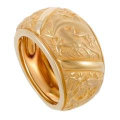 Carrera y Carrera Bestiario Wide 18 Karat Yellow Gold Dolphin Band Ring