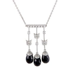 Baile de Mariposas 18 Karat Gold Diamond and Onyx Butterfly Pendant Necklace
