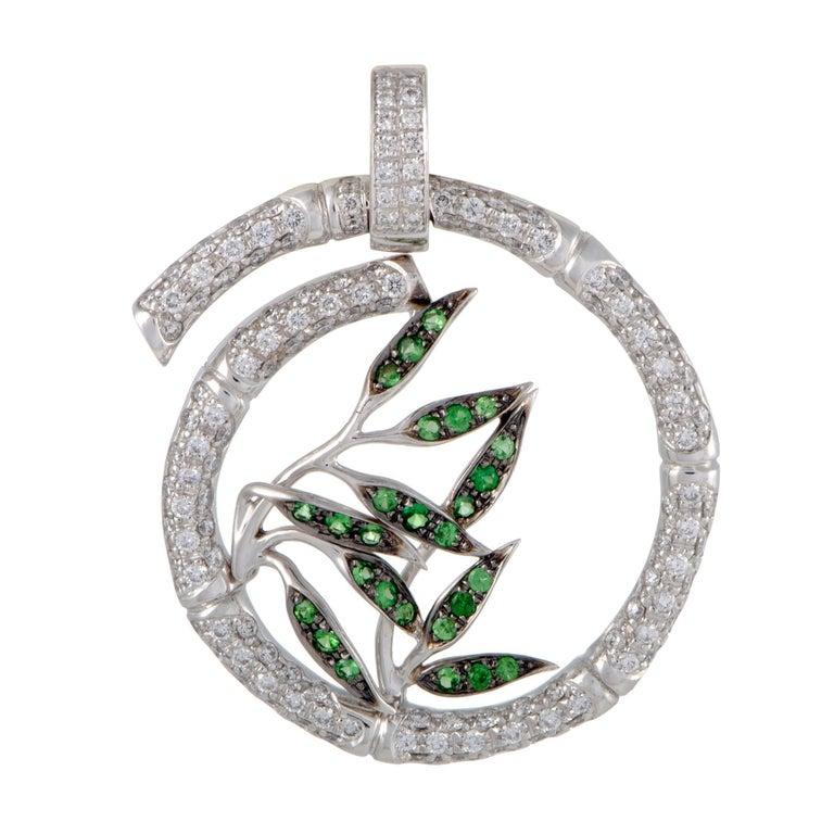 Bambú 18 Karat White Gold Diamond Pave and Tsavorite Large Spiral Pendant