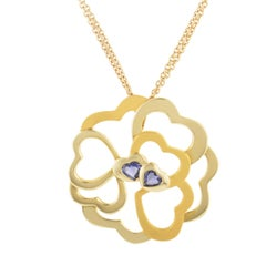 Carrera y Carrera 18 Karat Gold and Iolite Heart Cluster Large Pendant Necklace
