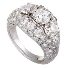 Cartier Chevaliere Platinum European Cut Diamond Pave and 3 Centerl Diamonds Bom