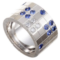 Cartier Lanieres 18 Karat White Gold Diamond and Sapphire Wide Band Ring