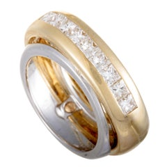 Cartier 18 Karat Yellow and White Gold Diamond Double Band Ring