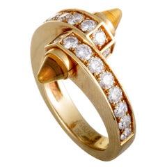 Cartier Menotte 18 Karat White Gold Diamond Pave and Orange Citrine Ring