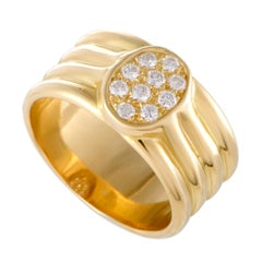 Hermès 18 Karat Yellow Gold Diamond Oval Band Ring
