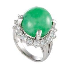 Platinum Diamond and Green Jade Round Ring