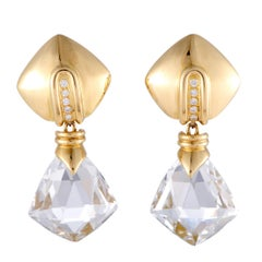 Antonini 18 Karat Yellow Gold Diamond and White Topaz Dangle Earrings