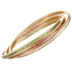Cartier Trinity 18 Karat Gold Full Diamond Ruby and Emerald Rolling Bangle Bra