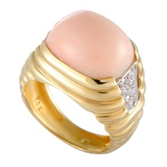 Van Cleef & Arpels Vintage 18 Karat Yellow and White Gold Diamond and Coral Ring