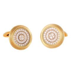 Waltham 18 Karat Yellow Gold Diamond Round Swinging Cufflinks