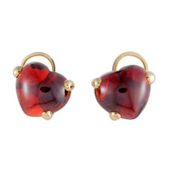 Pomellato Capri 18 Karat Yellow Gold Garnet Cabochon Heart Clip-On Earrings