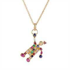 18K Yellow Gold Diamond, Ruby, Emerald, Sapphire and Cat's Eye Clown Pendant