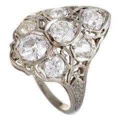 Antique Platinum Diamond Filigree Ring