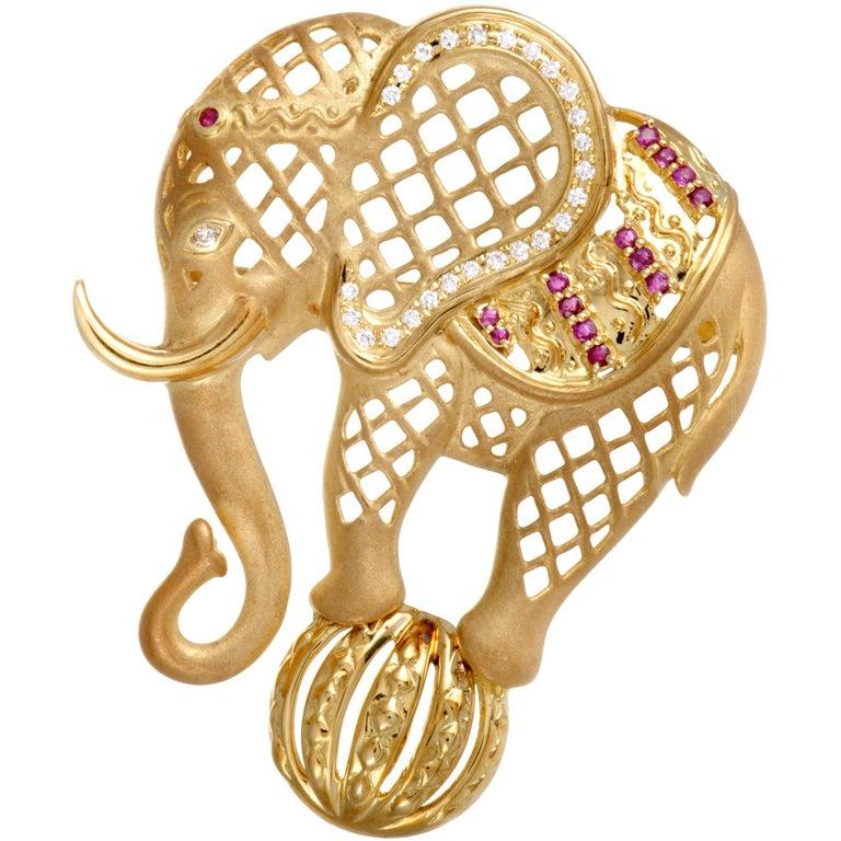 18 Karat Yellow Gold Diamond and Ruby Circus Elephant Pendant/Brooch