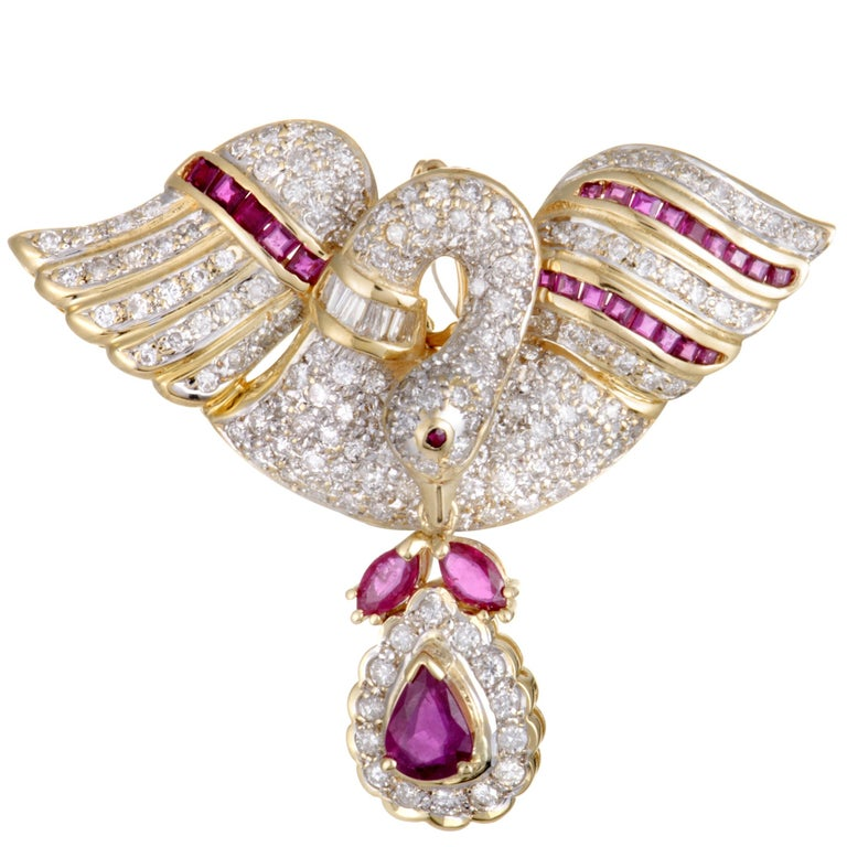 18 Karat Yellow Gold Full Diamond and Ruby Swan Pendant/Brooch