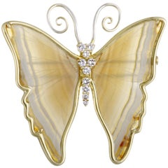 18 Karat Yellow and White Gold Diamonds and White Onyx Butterfly Brooch