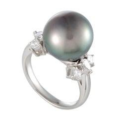 Platinum Diamond and Black Pearl Ring