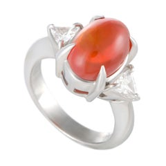 Platinum Trillion Cut Diamond and Oval Fire Opal Ring