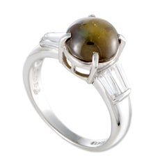 Platinum Baguette Diamond and Round Cat's Eye Ring
