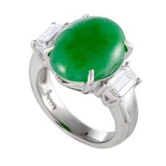 Platinum Diamond and Oval Green Jade Ring