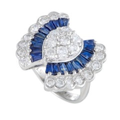 Platinum Diamond and Tapered Baguette Sapphires Ring