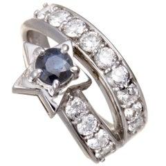 Platinum Diamond Pave and Sapphire Star Ring