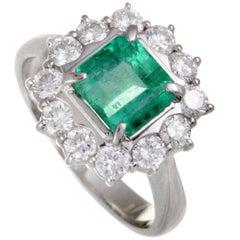 Platinum Diamond and Emerald Square Cushion Ring
