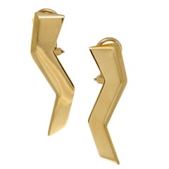 Tiffany & Co. 18 Karat Yellow Gold Zigzag Clip-On Earrings