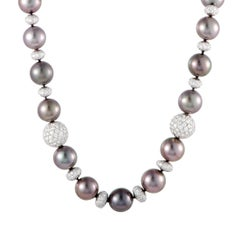 Platinum Diamond Pave Beads and Tahitian Pearls Riviere Necklace