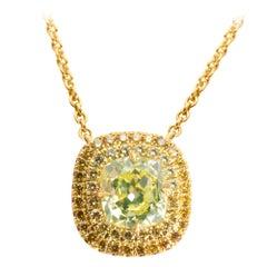 GIA Certified Yellow Diamond Halo Pendant in 18 Karat Gold 1.68 Carat