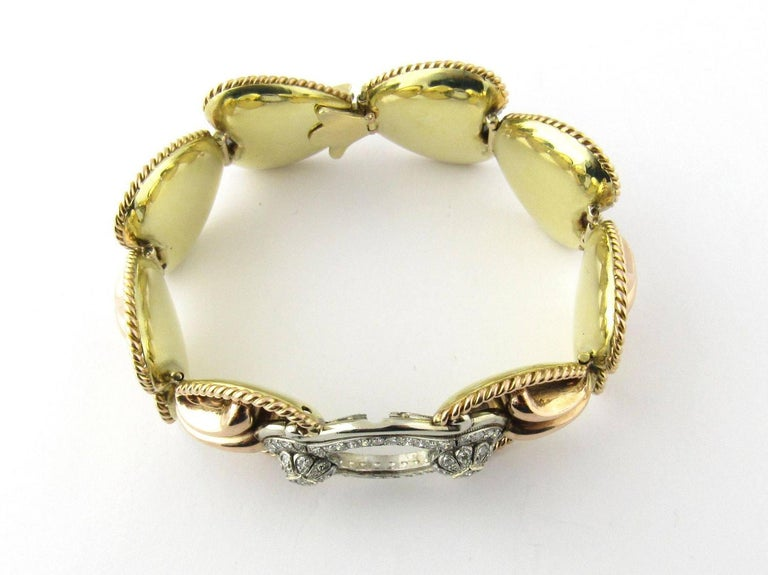 Antique 14 Karat Yellow Gold and Diamond Bracelet  This spectacular bracelet features 58 single cut diamonds in total; 40 weighing approximately .03 ct. each and 18 weighing approximately .02 ct. each. Color: H-I, Clarity: VS1-V2. Approximate