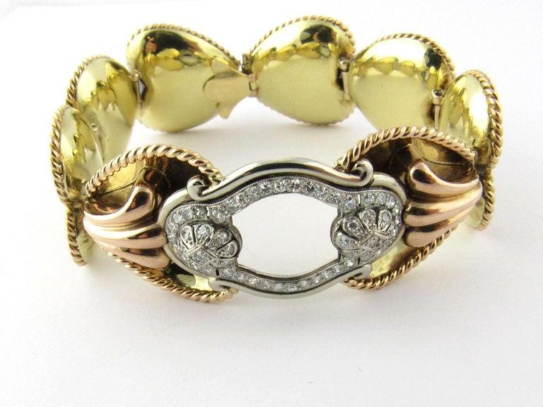 Women's Antique 14 Karat Yellow Gold and Diamond Bracelet For Sale