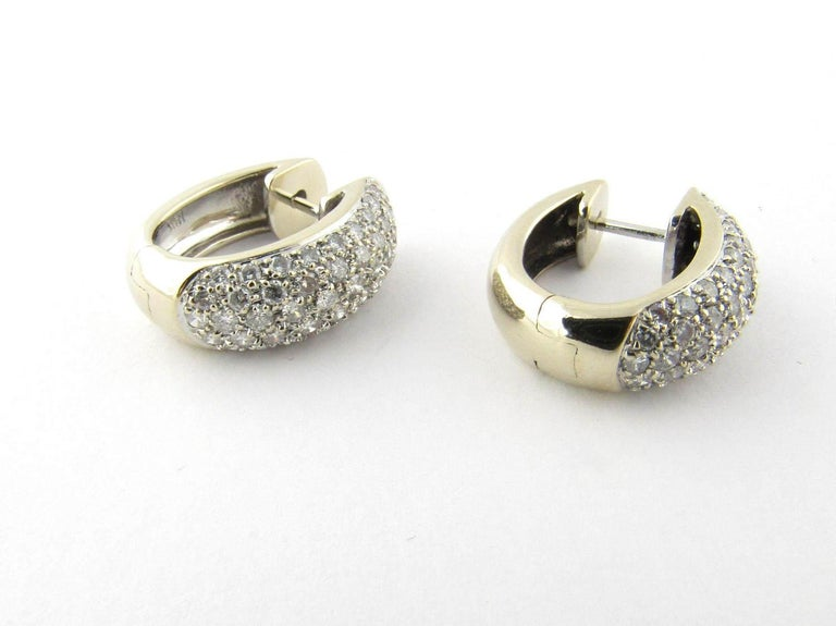 Vintage 18 Karat White And Yellow Gold Diamond Huggie Earrings These Stunning Feature 49