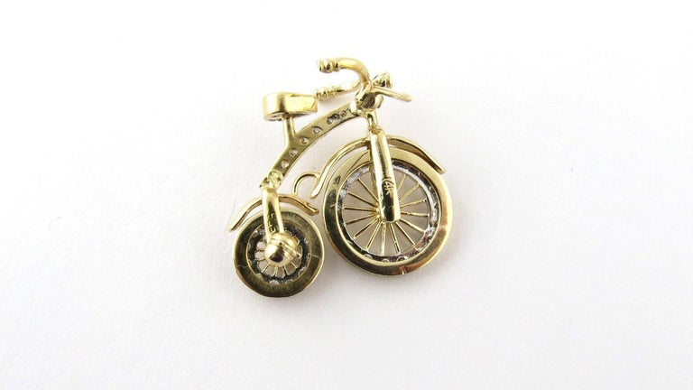 Women's 14 Karat Gold 3D Big Wheel Bicycle with Diamond Spinning Wheels Pin Brooch For Sale
