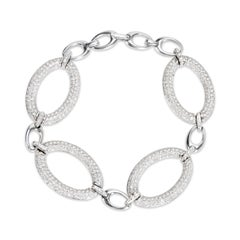 Diamond Pave Link Bracelet in 18 Karat White Gold 11.50 Carat