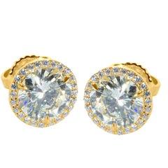 Four-Prong Basket Diamond Studs in 14 Karat White Gold 2.00 Carat