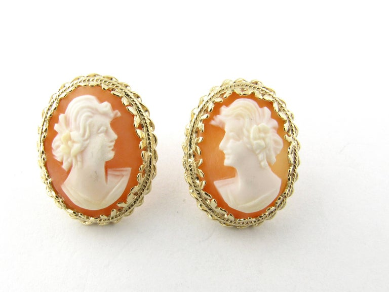 Vintage 14 Karat Yellow Gold Cameo Earrings These Lovely Each Feature A