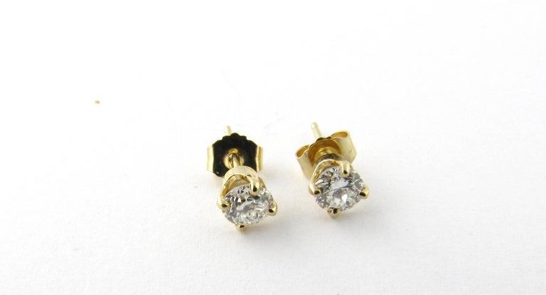 14 Karat Yellow Gold Diamond Stud Earrings .60 Carat In Excellent Condition For Sale In Greenwich, CT