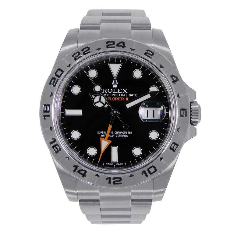Certified Rolex Explorer II Stainless Steel Black Dial Watch 216570