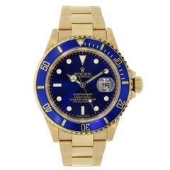 Certified Rolex Submariner Date Yellow Gold Watch Blue Dial 116618